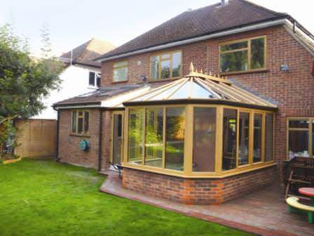 Ultraframe Victorian conservatory in Irish Oak