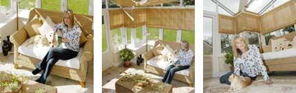 Mrs McKechnie relaxing in her T-shaped Ultraframe conservatory